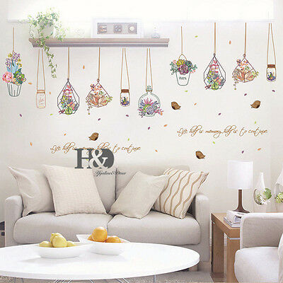 Home Kitchen Cottage Floral & Garden Decor Potted Flower Pot Decal Wall Sticker