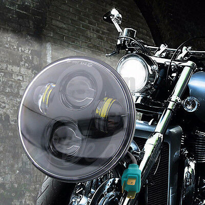 "5.75"" Inch Motorcycle LED Black Headlight Daymaker Projector DRL Bulb For Harley"