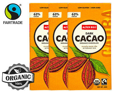 3 x Alter Eco Dark Cacao Organic Chocolate 80g