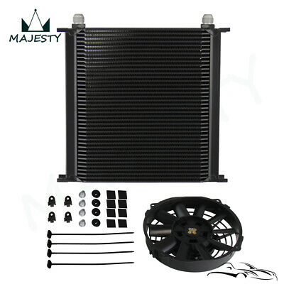 """40 Row AN10 Aluminum Engine & Transmission Oil Cooler + 7"""" Electric Fan kit"""