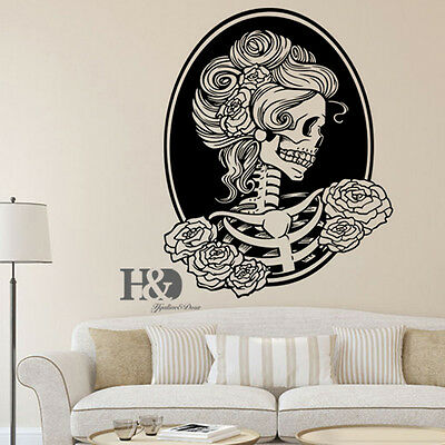 Removable Skull Head Tattoo Horror Zombie Vinyl Wall Decal Sticker Home Decor