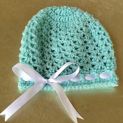 MINT GREEN crochet BABY  BEANIE  with SATIN RIBBON bow 0- 3 months