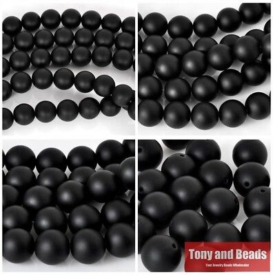 "Black Frost Onyx Agate Round Beads 15"" Strand 4 6 8 10 12 14 MM Pick Size For Je"