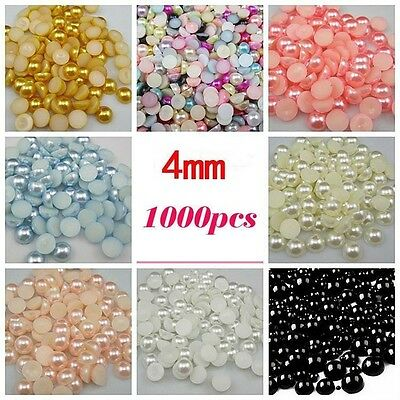 Many Colors 4mm 1000Pcs Craft ABS Imitation Pearls Half Round Flatback Pearls Re
