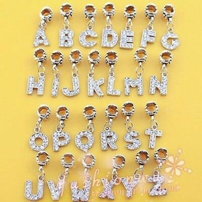 A-R Alloy Bead Charm European Letter Of The Alphabet Silver Plated Bead Fit Pand