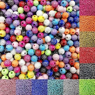 Sale 100 piece/lot 8mm Bright Shiny Round Acrylic Loose Spacer DIY Beads for Jew