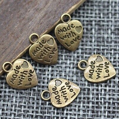 9*12MM 50pcs/lot Heart Shape Vintage Charms Silver/Bronze  MADE WITH LOVE CZ Pen