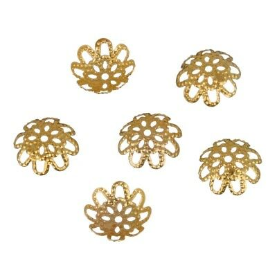 New 10mm 100 pcs/lot DIY Gold/Silver Plated Hollow Flower Metal Charms Bead Caps