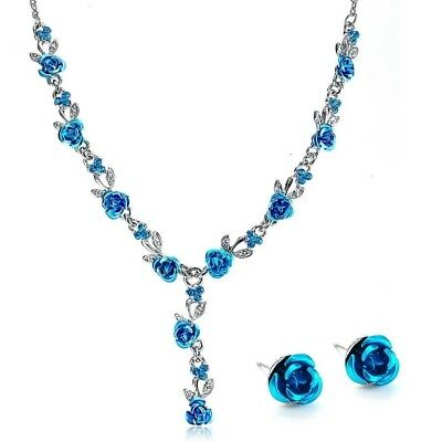 Fashion vintage necklace earrings wedding  bridal jewelry sets for women flower