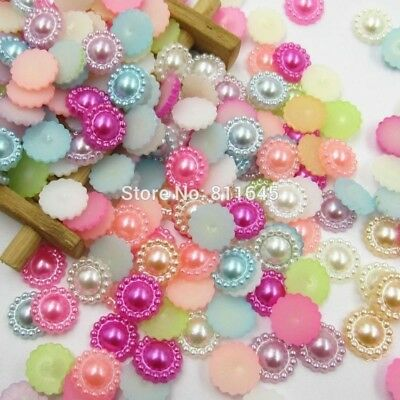 Mixed Color 100pcs/lot 10mm Half Round ABS Imitation Pearl Beads Fake Sunflower