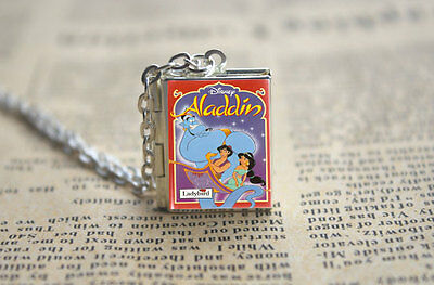 Aladdin Opening Book Locket Charm Pendant Necklace Miniature Novel