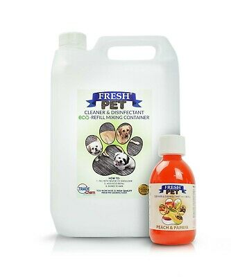 5L FRESH PET Kennel Cattery Disinfectant, Cleaner, Deodoriser - PEACH & PAPAYA