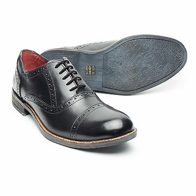 Lucini New Mens Real Leather Smart Formal Lace Up Brogues Shoes Black