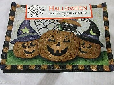 Halloween Fall Pumpkin Spider Tapestry Placemats Set of 4 or 8