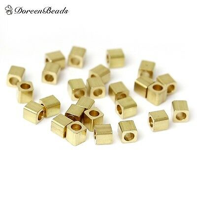 DoreenBeads High Quality Copper Seed Beads Cube Light Golden About 2.0mm x 2.0mm