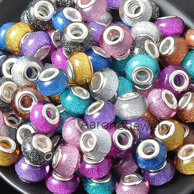 14MM 10Pcs Mixed Color silver plated Beads Charms Fit Jewelry Bracelet F