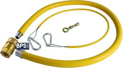 Yellow Catering Gas Hose Quick Release Commercial Flex Pipe Flexi Cooker Pipe