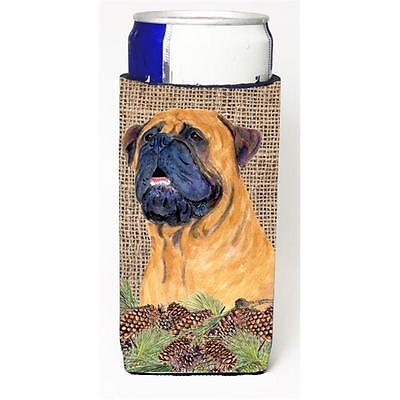 Bullmastiff On Faux Burlap With Pine Cones Michelob Ultra bottle sleeve for S...