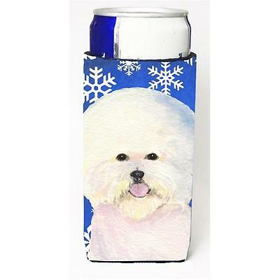 Bichon Frise Winter Snowflakes Holiday Michelob Ultra bottle sleeves For Slim...