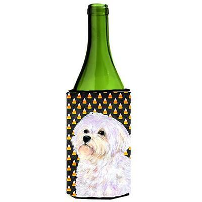Maltese Candy Corn Halloween Portrait Wine bottle sleeve Hugger 24 Oz.