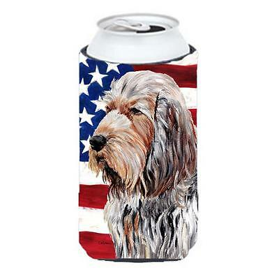 Otterhound With American Flag Usa Tall Boy bottle sleeve Hugger 22 To 24 Oz.