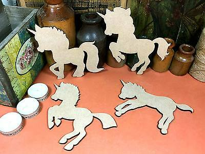 7.5cm fairytale wood shape craft 10 WOODEN MDF LEAPING UNICORN Shapes x3 15