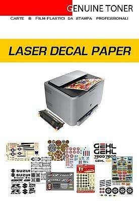 carta decalcomanie, waterslide decal paper LASER, 15 fogli/sheets A4