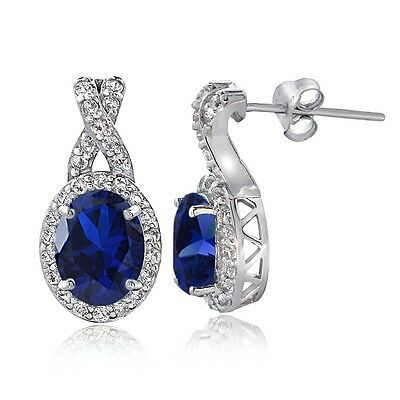 Sterling Silver Created Blue Sapphire & White Topaz X and Oval Drop Earrings