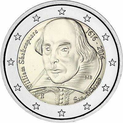 San Marino 2 Euro 2016 William Shakespeare Gedenkmünze Stempelglanz im Folder