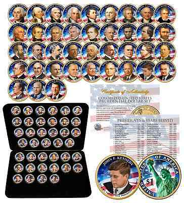 Complete Set U.S. PRESIDENTIAL $1 DOLLAR 39 COINS - COLORIZED 2-SIDED with BOX