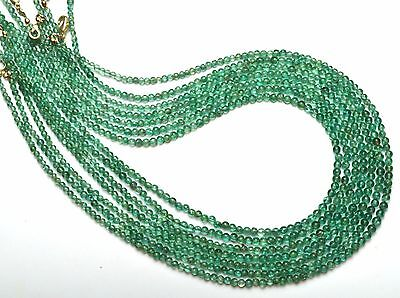 Natural Gem Ocean Green Apatite 3 to 4MM Smooth Round Beads Necklace 17""