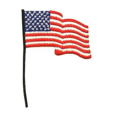 ID 1066 America Waving Flag Patch USA Patriotic Embroidered Iron On Applique