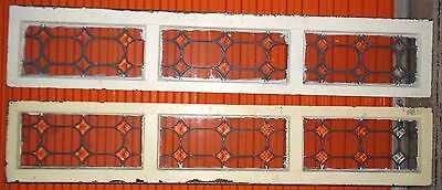 Beveled Sidelights Transom Leaded Glass Windows Antique Vintage Old Art Deco