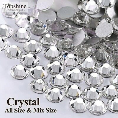 All Sizes Nail Art Crystal Clear ss3 ss4 ss5 ss6 - ss40 Shiny Strass Flatback No