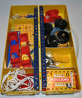 MECCANO 1980s Building TOY with 2 yellow storage boxes