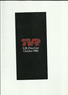 Tvr Range Price List Sales Brochure October 1986