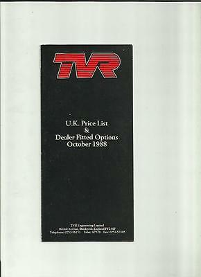 Tvr Full Range Price List Sales Brochure October 1988
