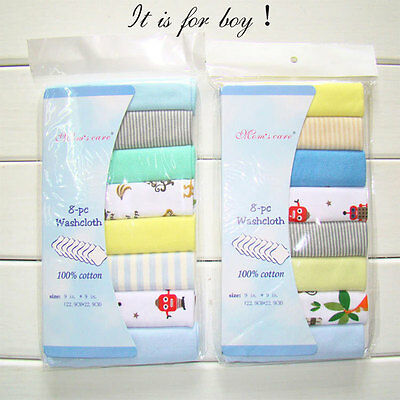 8Pcs/Pack 100% Cotton Newborn Baby Towels Toalha Nursing For Boys Washcloth