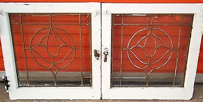Transom Windows Pair Antique Vintage Old Art Deco Leaded English Glass Crafts