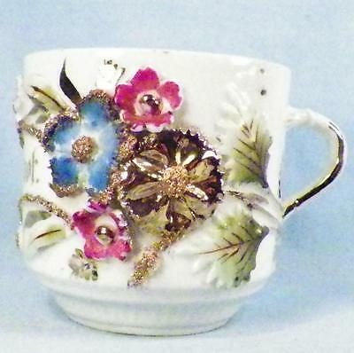Antique Forget Me Not Mug Cup Porcelain Pink Blue Flowers Gold Germany A Beauty