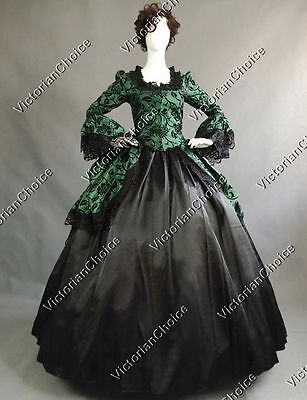 Renaissance Gothic Dress Steampunk Theater Witch Ghost Halloween Costume 143
