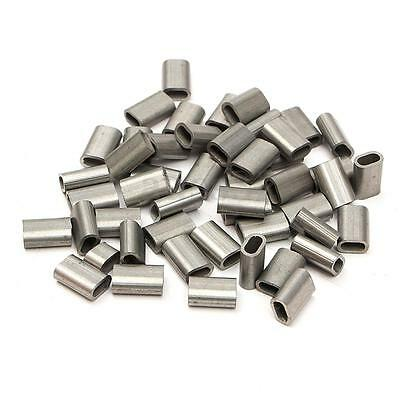 50pcs 304 Stainless Steel Cable Crimp Sleeve for 1/16'' Diameter Wire Rope