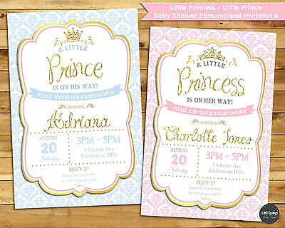 Little Princess Prince Baby Shower Personalised Invitation Invite Card Girl Boy
