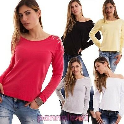 Pull femme chapelet dos manches longues jersey coton encolure ronde neuf CC-1202