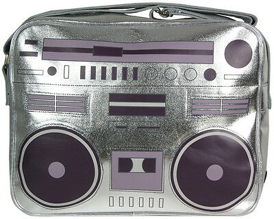 New Retro / Vintage 1980s Ghettoblaster Design Silver Sports / SHOULDER BAG