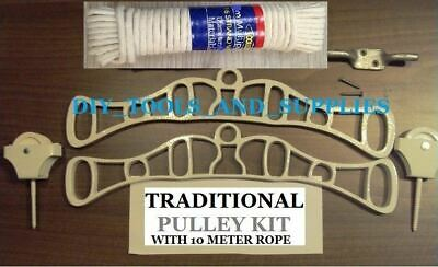 Hanging Clothes Airer Kit Cast Iron Ends Rope Kitchen Laundry Maid Dryer Ceiling