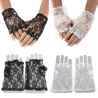 Black White Lace Half Fingerless Pop Fancy Dress Gloves Burlesque Flapper Short