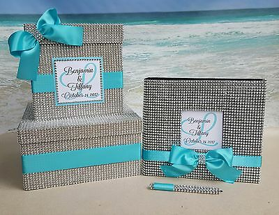 Bling Card Box & Guest Book Set -Choice of color- Wedding Quinceanera Rhinestone