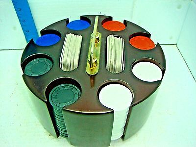 Wooden Poker Turntable With Chips And Cards