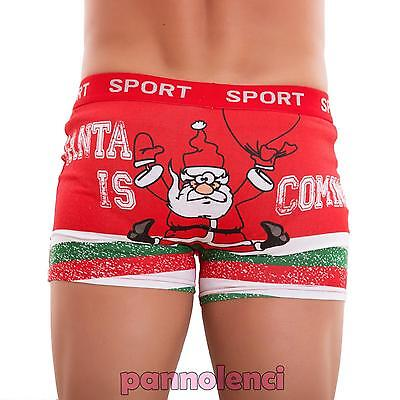 Boxer man underwear intimo stretch Santa Claus red cotton new MC380